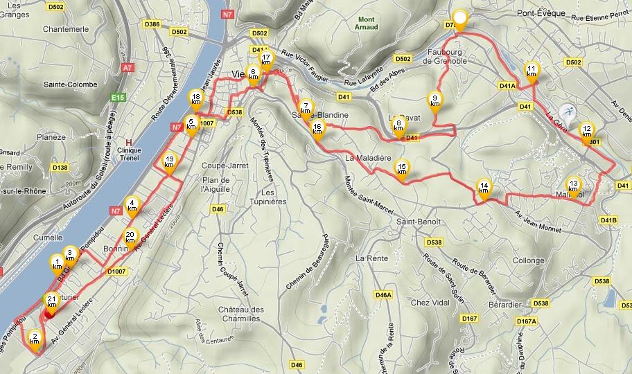 Le parcours 21km