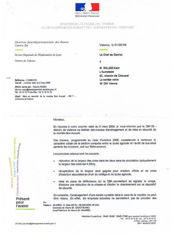 lettre DIR 01-08-2008