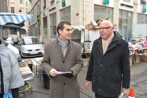 Jacques Remiller, Aurélien WILLEM sur le marché de Vienne pour Nicolas Sarkozy