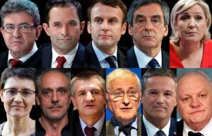 Les 11 candidats à la présidentielle 2017, Nicolas Dupont-Aignan, Marine Le Pen, Emmanuel Macron, Benoît Hamon, Nathalie Arthaud, Philippe Poutou, Jacques Cheminade, Jean Lassalle, Jean-Luc Mélenchon, François Asselineau, François Fillon,montage JDD